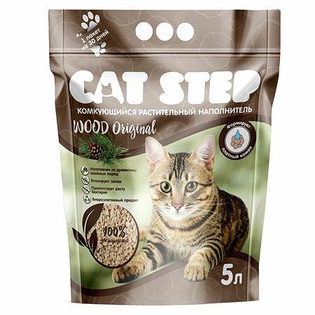 Наполнитель для кошек Cat Step Wood Original комкующийся растительный 5л