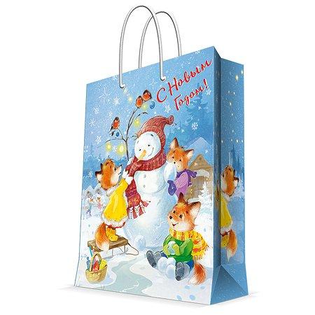Пакет бумажный Magic Time Снеговик и лисы