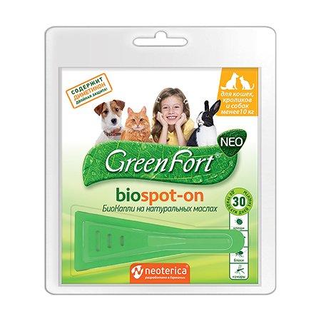 Капли для кошек и собак GreenFort NEO до 10кг 1мл