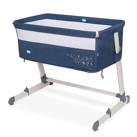 Кроватка Nuovita Accanto приставная Blu scuro Lino Темно-синий-Лен