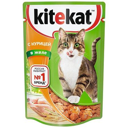 Корм влажный для кошек KiteKat 85г курица в желе пауч