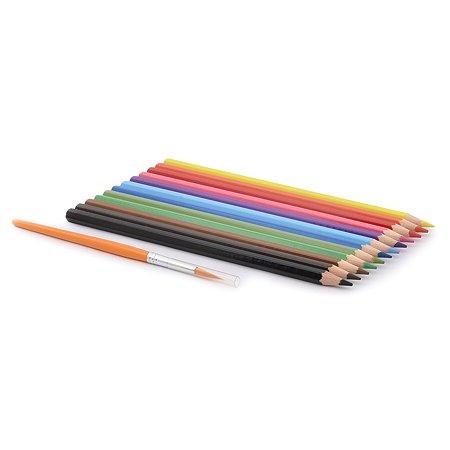 Карандаши цветные акварельные Adel Aquacolor 3 мм 12 цветов + кисточка