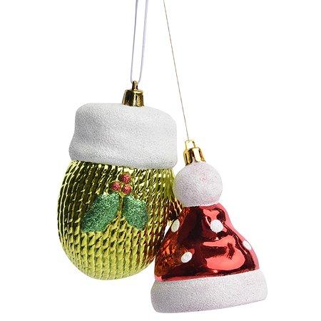 Набор елочных украшений House of Seasons шапка и рукавица 2шт Красный и Зеленый 1036782