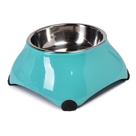 Миска для собак SuperDesign на меламиновой подстаке высокая 160мл Аквамарин 16033