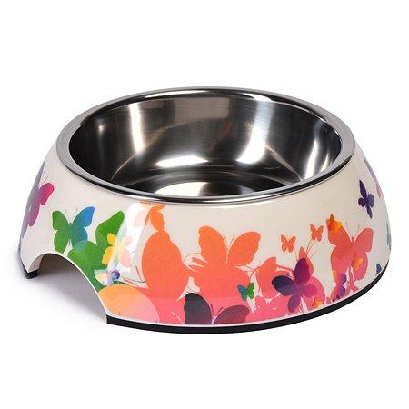 Миска для собак SuperDesign Бабочки абстрактные на меламиновой подставке 0.16л 70134