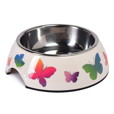 Миска для собак SuperDesign Бабочки на меламиновой подставке 0.16л 80010