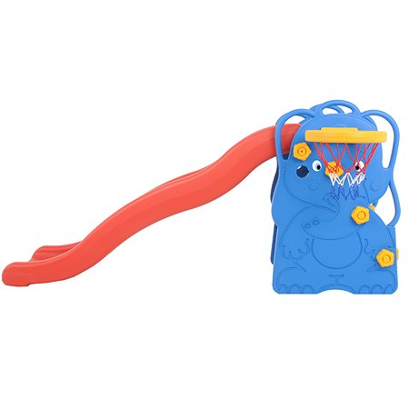 Центр игровой Edu Play Горка волнистая Слоненок с баскетбольным кольцом Синий-Красный-Желтый WJ-311