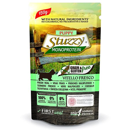 Корм для щенков Stuzzy Monoprotein телятина консервированный 150г