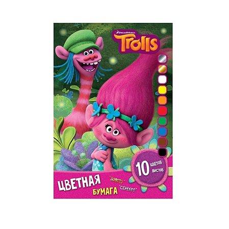 Цветная бумага  А4 DreamWorks 10цв 10л  TROLLS