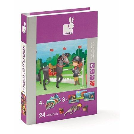Магнитная  игра Janod Лошадки 24 магнита, 8 моделей, 4 пейзажа