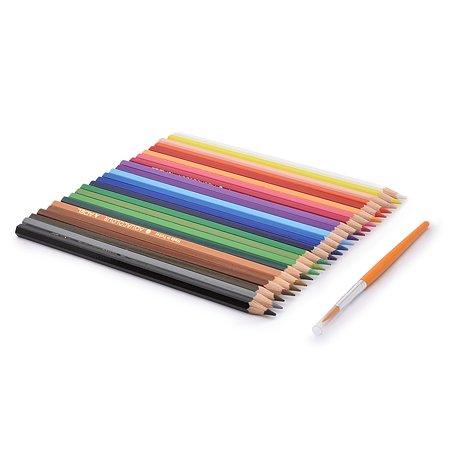 Карандаши цветные акварельные Adel Aquacolor 3 мм 24 цвета + кисточка