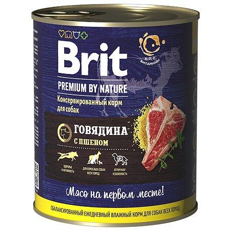 Корм для собак Brit Premium by Nature с говядиной и пшеном консервированный 850г