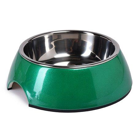 Миска для собак SuperDesign на меламиновой подставке 160мл Зеленый перламутр 16040