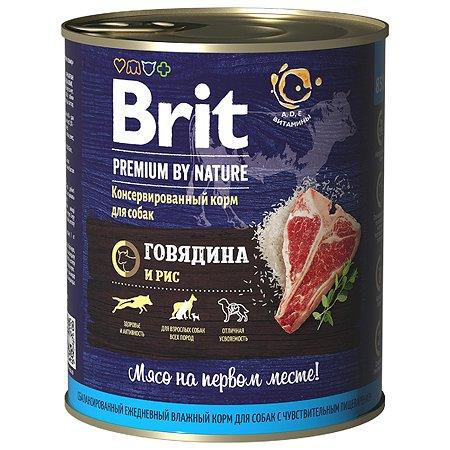 Корм для собак Brit Premium by Nature с говядиной и рисом консервированный 850г