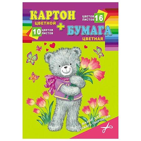 Набор для творчества Prof Press Мишка с цветами А4 картон цв 10л бумага цв 16л КБ-3919