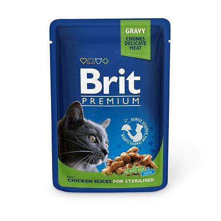 Корм влажный для кошек Brit Premium 100г курица стерелизованных пауч