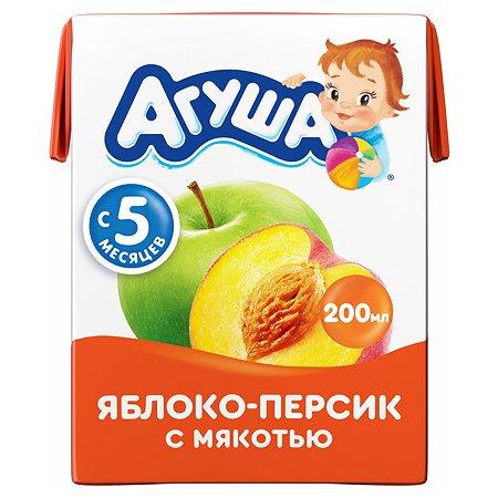 Сок Агуша яблоко-персик с мякотью 200мл с 5месяцев