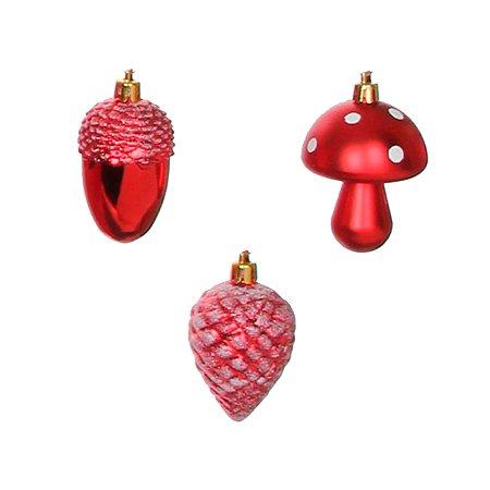 Елочное украшение House of Seasons Шишка желудь гриб набор 3 шт Красный