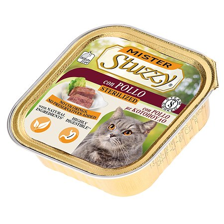 Корм для кошек Stuzzy Mister стерилизованных с курицей консервированный 100г