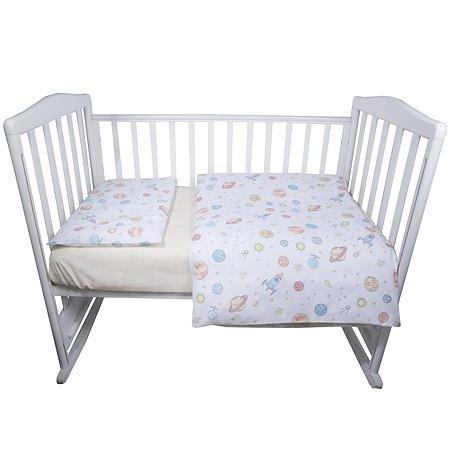Комплект постельного белья Babyton Космос детский 3 предмета Бежевый 10003