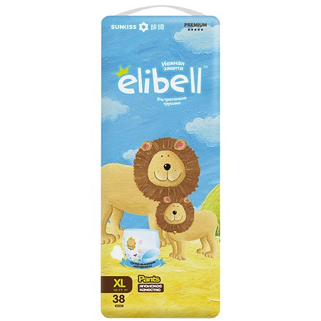 Подгузники-трусики Elibell XL 12-17кг 38шт