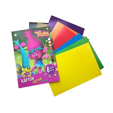 Цветной картон   А4 DreamWorks 8цв.8л TROLLS