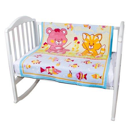 Одеяло байковое Baby Nice 100х118 голубое Рыбалка