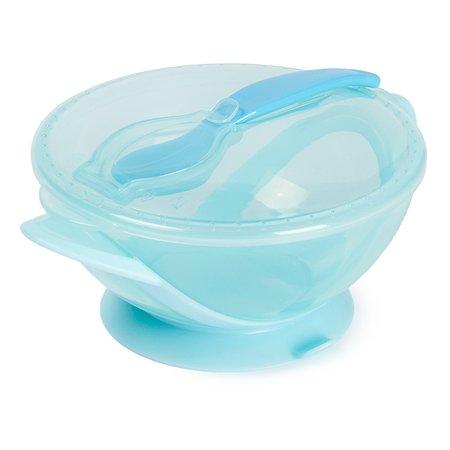 Тарелка Baby Go с присоской+крышка+ложка Blue D2-0611