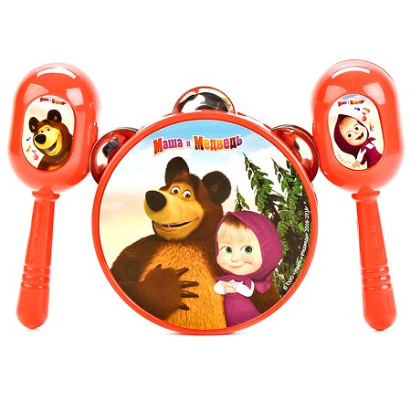 Набор музыкальных инструментов Играем вместе Маша и Медведь бубен и маракасы