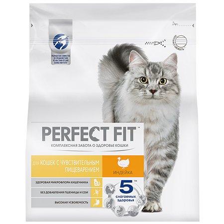 Корм сухой для кошек PerfectFit 1.2кг с индейкой с чувствительным пищеварением