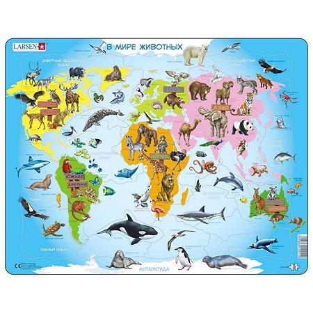 Пазл Larsen Карта мира с животными 28деталей A34