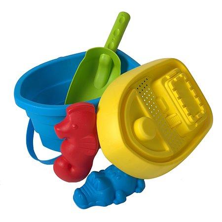 Набор для песочницы Baby Trend Ведерко с крышкой Голубое 5 предметов 59588ЯиГ