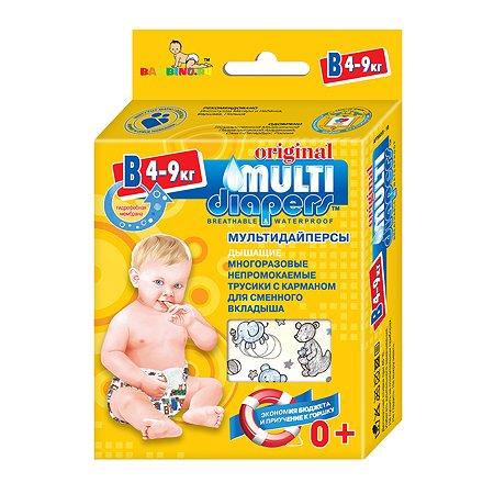 Трусики MULTI-DIAPERS с карманом для вкладыша Бегемоты В 4-9кг 1шт
