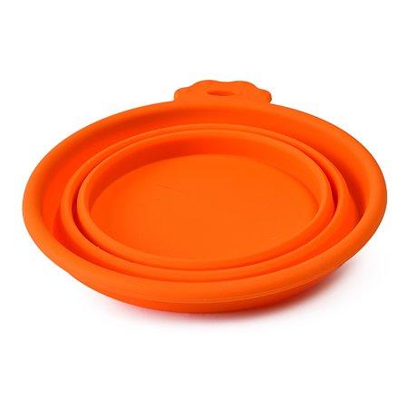 Миска для собак SuperDesign силиконовая складная средняя 700мл Оранжевая 19058