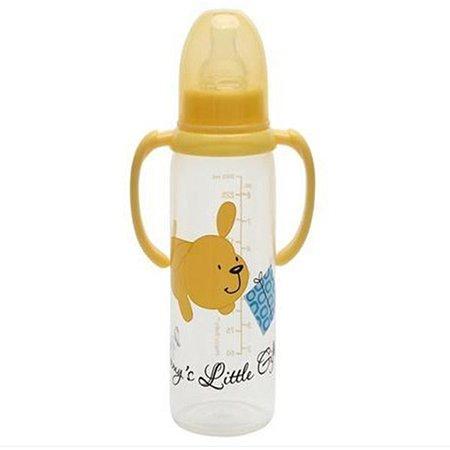 Бутылочка Happy Baby с ручками и с силиконовой соской стандартное горло250 мл 4 мес+ в ассортименте