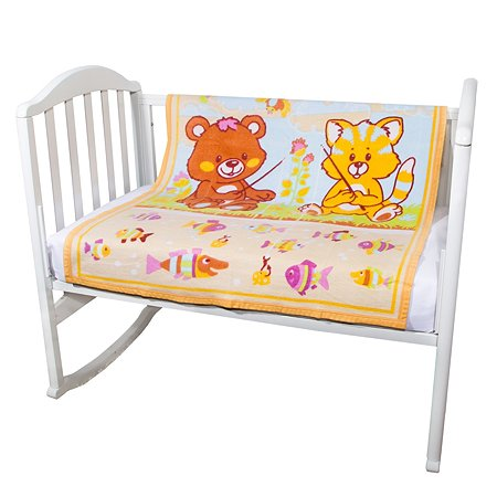 Одеяло байковое Baby Nice 100х118 желтое Рыбалка