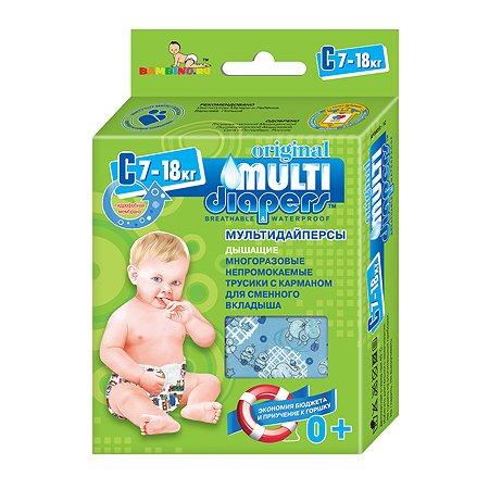 Трусики MULTI-DIAPERS с карманом для вкладыша Бегемоты синие С 7-18 кг 1шт