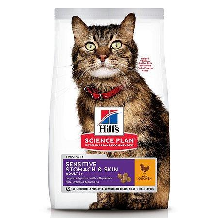 Корм сухой для кошек HILLS Science Plan Sensitive Stomach/Skin 1.5кг с курицей с чувствительным пищеварением и кожей