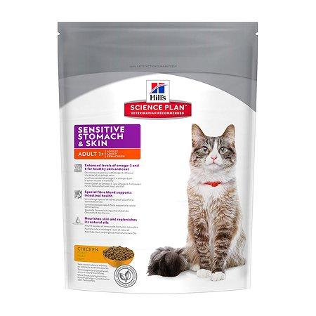Корм сухой для кошек HILLS Science Plan Sensitive Stomach/Skin 400г с курицей для кожи и пищеварения