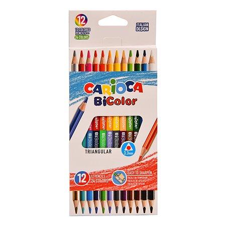Карандаши цветные CARIOCA Bi-color двусторонние 24цвета 12шт 42991