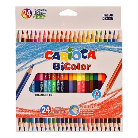 Карандаши цветные CARIOCA Bi-color двусторонние 48цветов 24шт 43031