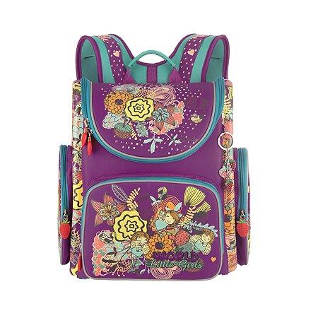 Рюкзак школьный Grizzly Цветочки Фиолетовый RAr-080-4/2