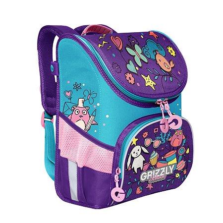 Рюкзак школьный Grizzly Нашивки Фиолетовый-Голубой RAn-082-6/1