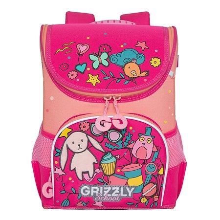 Рюкзак школьный Grizzly Нашивки Жимолость-Персиковый RAn-082-6/2