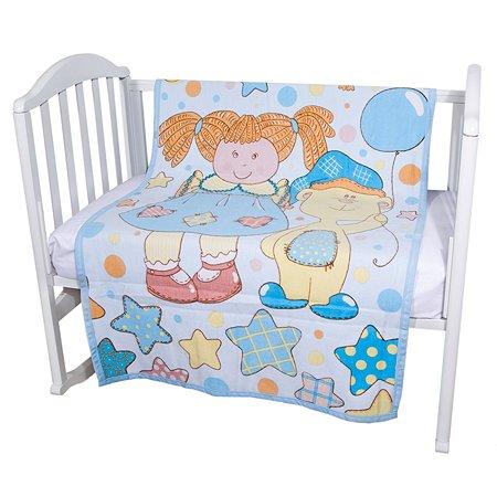 Одеяло байковое Baby Nice 100х140 голубое Девочка с мишкой