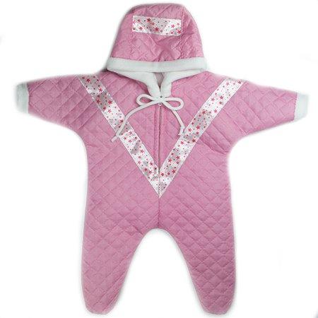 Одежда для кукол 43-48 см Модница Комбинезон прогулочный из синтепона с капюшоном для пупса 43 см с отделкой в ассортименте