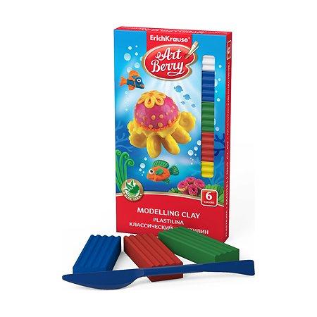 Пластилин ArtBerry С алое 108г 6цветов+стек