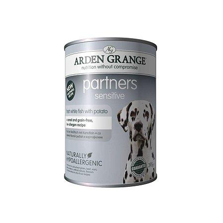 Корм для собак Arden Grange Partners Sensitive с океанической белой рыбой и картофелем 395г
