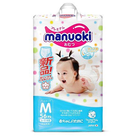 Подгузники-трусики Manuoki M 6-11кг 56шт