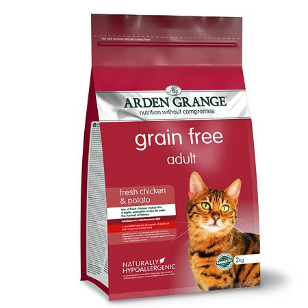 Корм сухой для кошек Arden Grange Adult 2кг беззерновой с курицей и картофелем